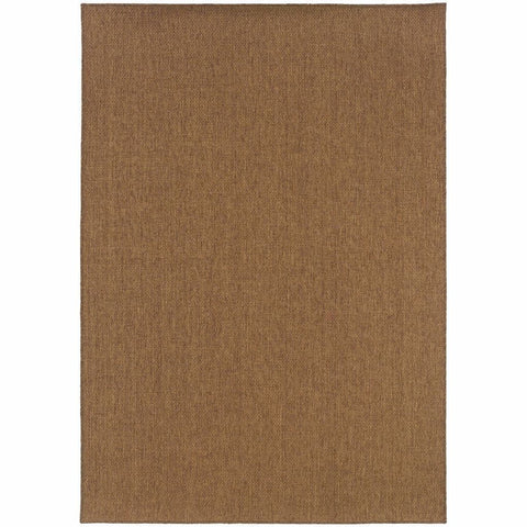 Karavia Tan  Solid Basket Weave Outdoor Rug