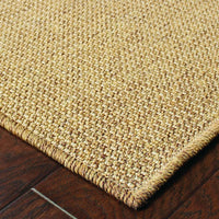 Woven - Karavia Tan  Solid Basket Weave Outdoor Rug