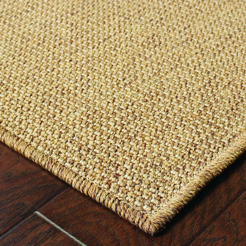 Oriental Weavers Karavia Tan  Solid Basket Weave Outdoor Rug