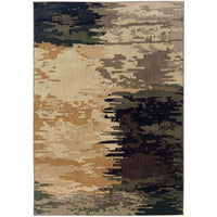 Kasbah Blue Ivory Abstract  Contemporary Rug - Free Shipping