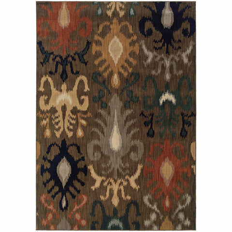 Oriental Weavers Kasbah Brown Navy Tribal Ikat Transitional Rug