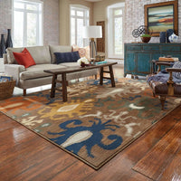 Woven - Kasbah Brown Navy Tribal Ikat Transitional Rug