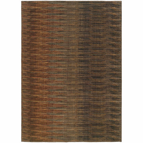 Oriental Weavers Kasbah Brown Rust Striped Ikat Transitional Rug