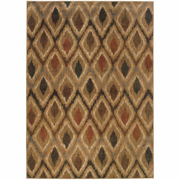 Kasbah Gold Beige Geometric Lattice Transitional Rug - Free Shipping