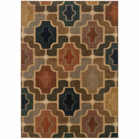 Oriental Weavers Kasbah Gold Multi Geometric Tile Transitional Rug