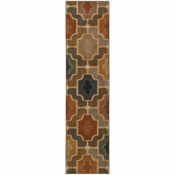 Woven - Kasbah Gold Multi Geometric Tile Transitional Rug