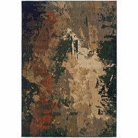 Kasbah Green Multi Abstract  Contemporary Rug - Free Shipping