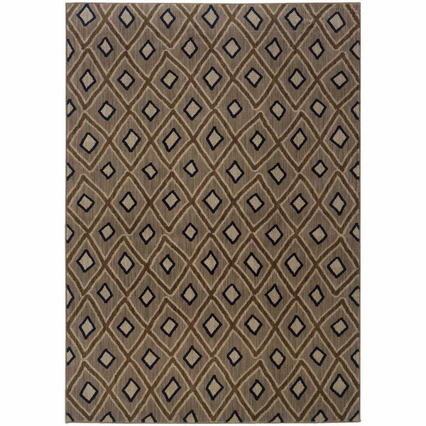 Kasbah Grey Brown Geometric Diamond Transitional Rug - Free Shipping