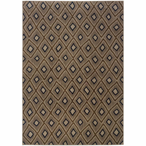 Oriental Weavers Kasbah Grey Brown Geometric Diamond Transitional Rug