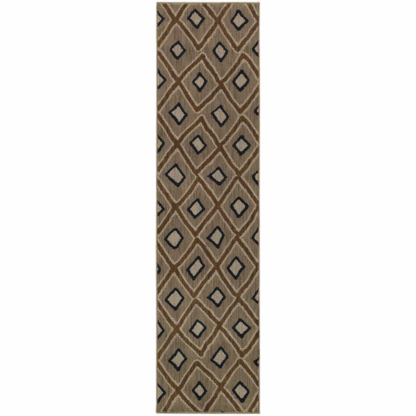 Woven - Kasbah Grey Brown Geometric Diamond Transitional Rug