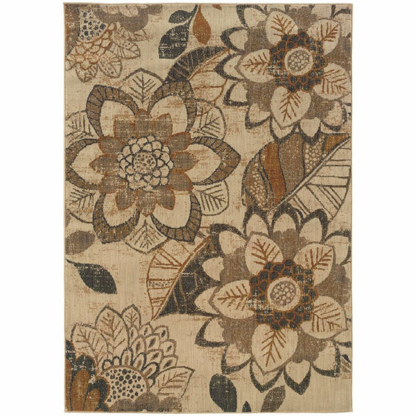 Kasbah Ivory Grey Floral Ikat Transitional Rug - Free Shipping