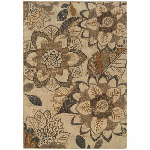 Oriental Weavers Kasbah Ivory Grey Floral Ikat Transitional Rug