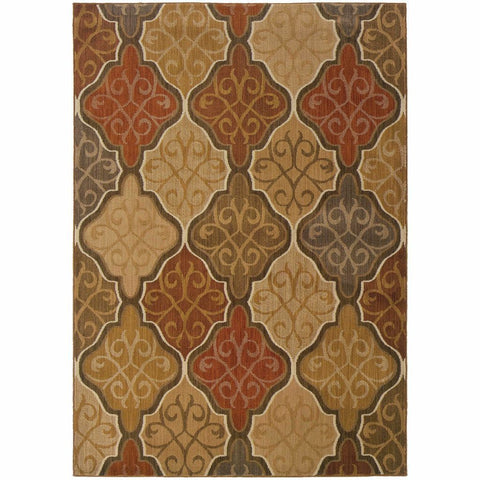 Oriental Weavers Kasbah Orange Gold Oriental Lattice Transitional Rug
