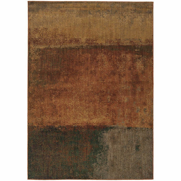 Kasbah Orange Multi Abstract  Transitional Rug - Free Shipping