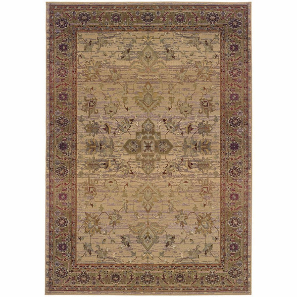 Kharma Beige Green Oriental Persian Traditional Rug - Free Shipping