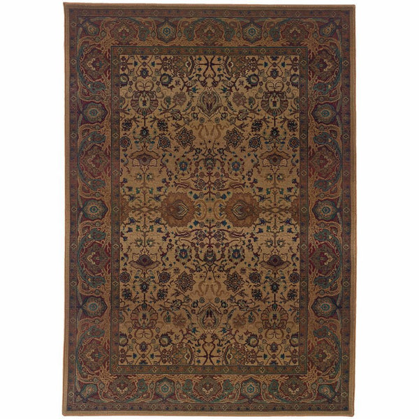 Kharma Beige Red Oriental Persian Traditional Rug - Free Shipping