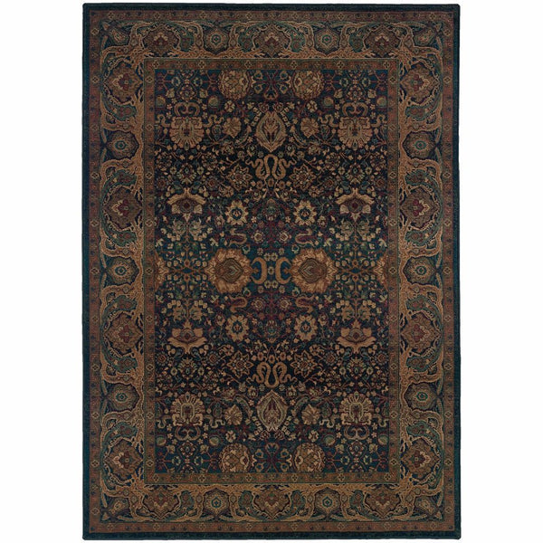 Kharma Blue Beige Oriental Persian Traditional Rug - Free Shipping