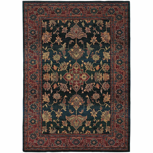 Kharma Blue Red Oriental Persian Traditional Rug - Free Shipping