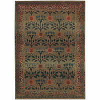 Kharma Green Brown Floral  Transitional Rug - Free Shipping