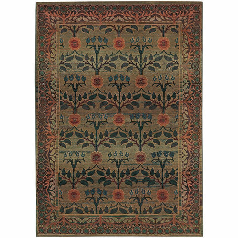 Oriental Weavers Kharma Green Brown Floral  Transitional Rug
