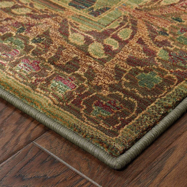 Woven - Kharma Green Brown Floral  Transitional Rug