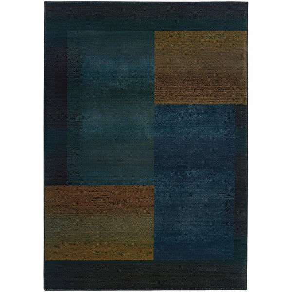 Kharma II Blue Gold Geometric  Contemporary Rug - Free Shipping