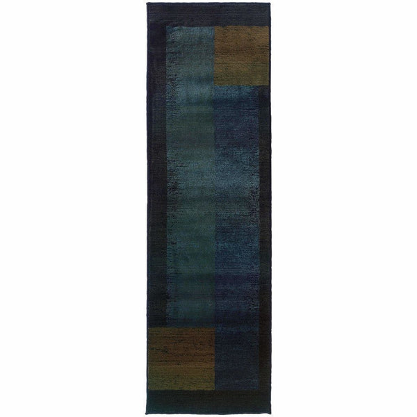 Woven - Kharma II Blue Gold Geometric  Contemporary Rug