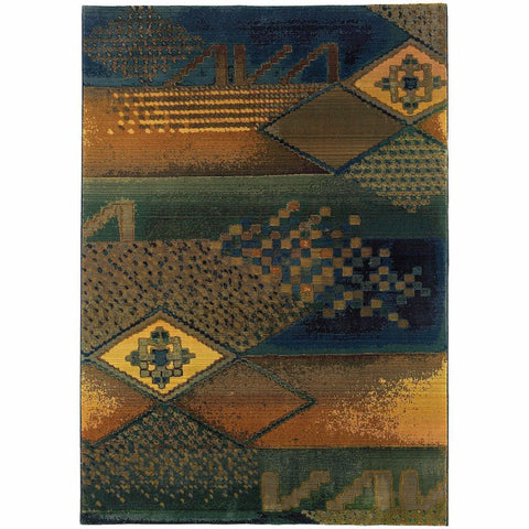 Oriental Weavers Kharma II Blue Green Abstract Tribal Transitional Rug