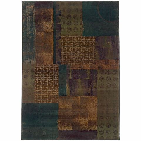 Oriental Weavers Kharma II Blue Green Geometric Patchwork Contemporary Rug