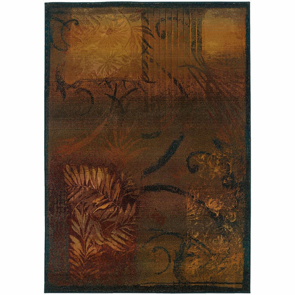 Kharma II Brown Gold Abstract  Transitional Rug - Free Shipping