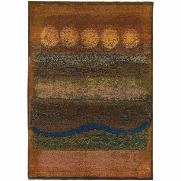 Kharma II Gold Green Abstract  Contemporary Rug - Free Shipping