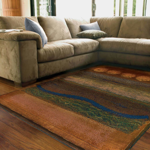 Woven - Kharma II Gold Green Abstract  Contemporary Rug