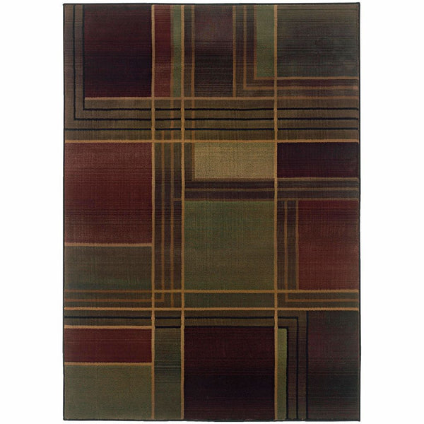 Kharma II Green Purple Geometric  Contemporary Rug - Free Shipping