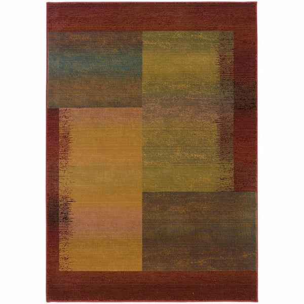 Kharma II Green Red Geometric  Contemporary Rug - Free Shipping