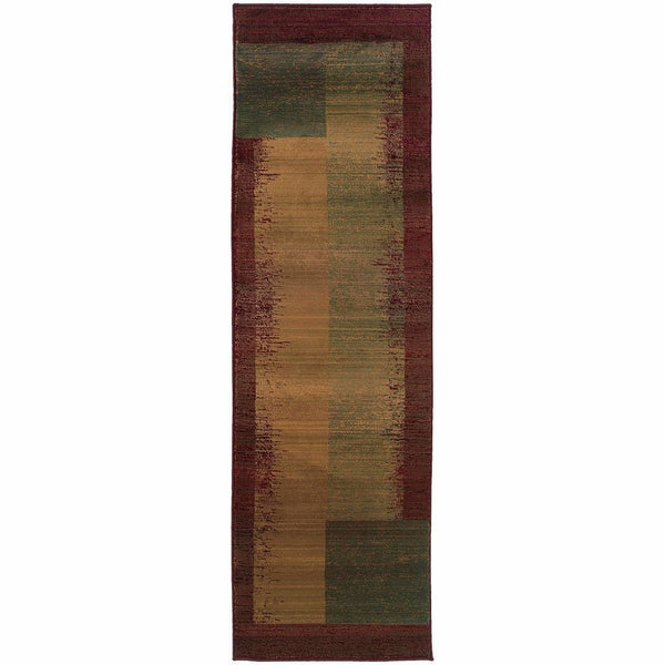 Woven - Kharma II Green Red Geometric  Contemporary Rug