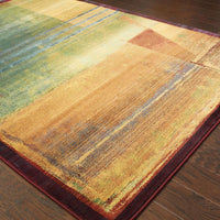 Woven - Kharma II Red Green Abstract  Contemporary Rug