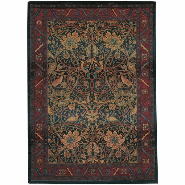 Kharma Red Blue Floral  Traditional Rug - Free Shipping