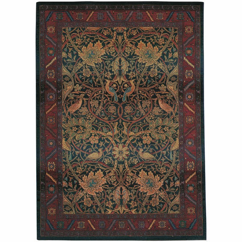 Oriental Weavers Kharma Red Blue Floral  Traditional Rug