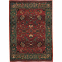 Kharma Red Green Floral  Traditional Rug - Free Shipping