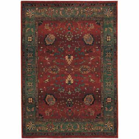 Oriental Weavers Kharma Red Green Floral  Traditional Rug
