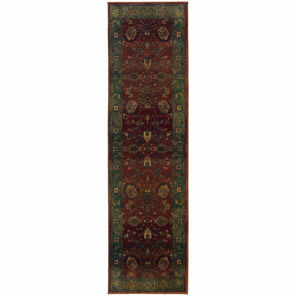 Woven - Kharma Red Green Floral  Traditional Rug