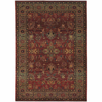 Kharma Red Green Oriental Persian Traditional Rug - Free Shipping