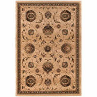 Knightsbridge Beige Brown Floral  Traditional Rug - Free Shipping