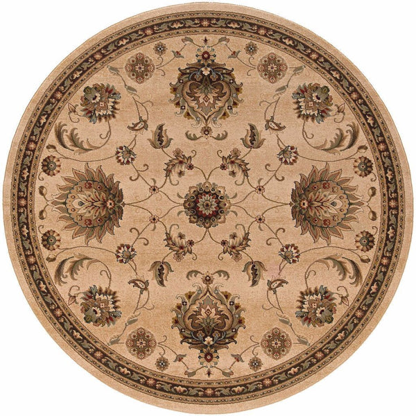 Woven - Knightsbridge Beige Brown Floral  Traditional Rug