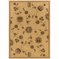 Knightsbridge Beige Gold Floral  Transitional Rug - Free Shipping