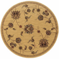 Woven - Knightsbridge Beige Gold Floral  Transitional Rug