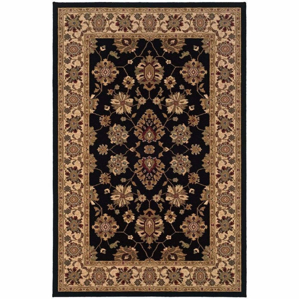 Knightsbridge Black Ivory Oriental Persian Traditional Rug - Free Shipping