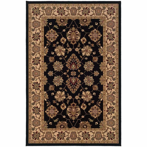 Oriental Weavers Knightsbridge Black Ivory Oriental Persian Traditional Rug