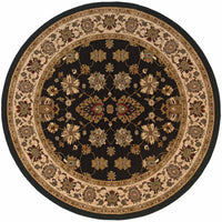 Woven - Knightsbridge Black Ivory Oriental Persian Traditional Rug