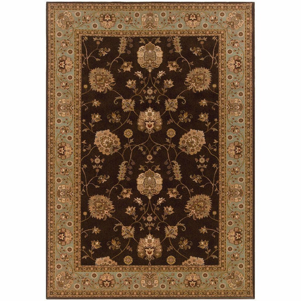 Knightsbridge Brown Blue Oriental Persian Traditional Rug - Free Shipping